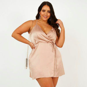 Showpo All Things Nice Dress Mocha Satin
